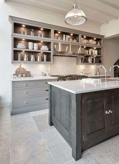 Smoked oak modern kitchen with natural grain