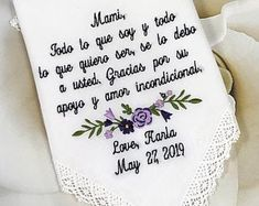 Embroidered Wedding Handkerchiefs, Fast Turnaround by elegantmonogramming Wedding Gifts For Bride, Bridal Gifts, Wedding Ideas, Wedding Handkerchief, Handkerchief Crafts, Wedding Verses, Spanish Wedding, Father Of The Bride, Groom And Groomsmen