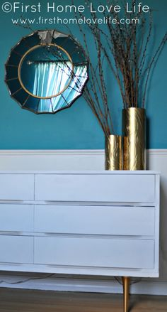 White and gold mid-century