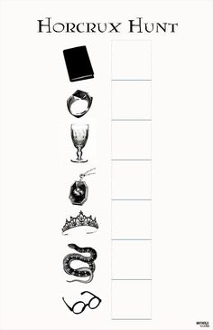 Horcrux Hunt Tom Riddle's Diary Marvolo Gaunt's Ring Salazar Slytherin's Locket Helga Hufflepuff's Cup Rowena Ravenclaw's Diadem (tiara) Nagini Harry Potter (his glasses)