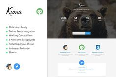 Kuma - Coming Soon Template. Bootstrap Themes. $5.00