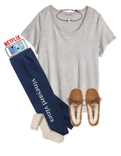 Chill day! by maliaackermann ❤ liked on Polyvore featuring мода, HM, Vineyard Vines и UGG Australia
