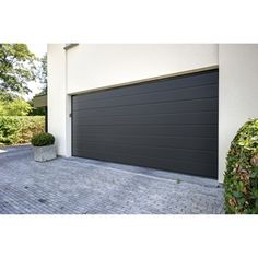 Porte de garage sectionnelle acier gris anthracite EXCELLENCE, 200 x 240 cm | Leroy Merlin