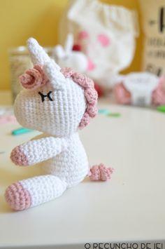 O Recuncho de Jei: Paso a paso del unicornio amigurumi Crochet Animals, Crochet Toys, Crochet Baby, Free Crochet, Knit Crochet, Crochet Doll Tutorial, Amigurumi Tutorial, Knit Art, Crochet Unicorn