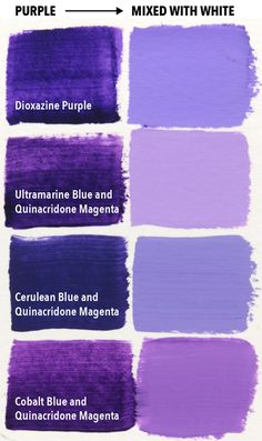 Magenta Is the Secret to Mixing Purple - Page 3 of 3 - Draw and Paint For Fun Purple Paint Colors, Purple Painting, Acrylic Painting Tips, Pastel Colours, Watercolor Painting, Color Mixing Chart Acrylic, Paint Color Chart, Lavender Paint, Lavender Color