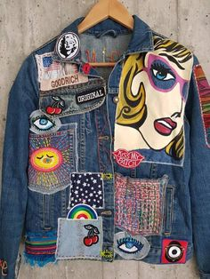 Denim Vintage, Vintage Jacket, Painted Jeans, Painted Clothes, Hand Painted, Custom Clothes, Diy Clothes, Customised Clothes, Customised Denim Jacket