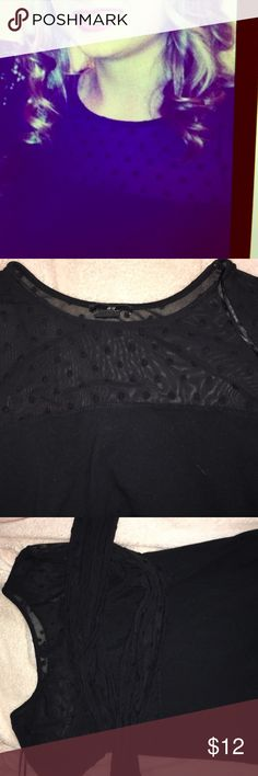 Polka Dot Mesh Top Sleeves and chest are mesh polka dot. Rest of top is black. Long sleeves H&M Tops