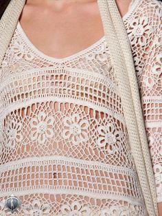 Chorrilho de ideias: Vestido branco rosetas em crochet com esquema