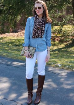 Scarf, chambray, white jeans, boots.