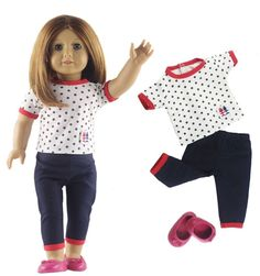 "3in1 Set Doll Clothes Top+pants+one pairs shoes for 18"" American Girl Doll Casual Clothes"