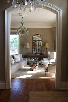 ~that look~ Beautiful archway moldings- My Sweet Savannah Formal Living Rooms, Home Living Room, Living Room Decor, Living Spaces, Piece A Vivre, Great Rooms, Decoration, Home Furniture, Family Room