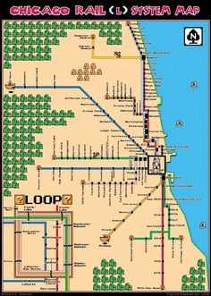 #Chicago Rail (L) System Map in #8Bit