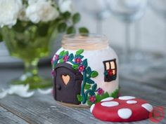 DIY Beautiful Mushroom House Candle Holder from a Jar (could use a battery operated tea light instead) Diy Fimo, Polymer Clay Crafts, Cute Candles, Beautiful Candles, House Candle Holder, Candle Holders, Jar Candle, Clay Projects, Diy Projects To Try
