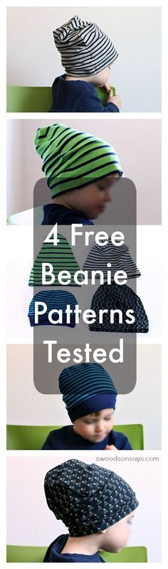 4 free sewing patterns for knit fabric beanie hats, tested for a toddler. Great knit fabric scrap buster!