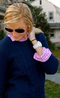 Pink gingham navy sweater