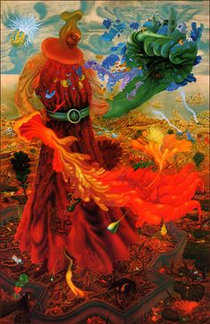 arik brauer : war and peace can be pulled on and off like gloves Rudolf Hausner, Landscape Art, Landscape Paintings, Other Space, Visionary Art, Mural Painting, Fantastic Art, Love Art, Creepy