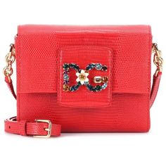 Dolce & Gabbana DG Millennials Mini Leather Shoulder Bag (€1.045) ❤ liked on Polyvore featuring bags, handbags, shoulder bags, crossbody bags, red, mini handbags, leather crossbody handbags, leather cross body purse, cross-body handbag and red shoulder bag