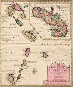 Carte ancienne des îles de la Caraibe
