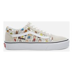 Vans X Peanuts Women's Old Skool Trainers - Multi/True White (245 BRL) ❤ liked on Polyvore featuring shoes, sneakers, white, cartoon shoes, white low top sneakers, white sneakers, black trainers and black white sneakers