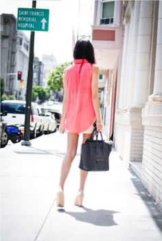 sheer pink over a high waisted skirt - love the styling!