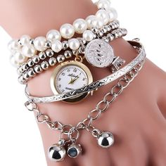 $5.75 Ailisha Multilayer Quartz Chain Watch Beads Pendant Round Dial for Women