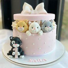 Birthday Cake For Daughter, Baby Girl Birthday Cake, Pretty Birthday Cakes, First Birthday Cakes, Pretty Cakes, Cute Cakes, Birthday Cakes Girls Kids, Kitten Cake, Cake Designs For Girl