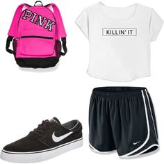 what i wear everyday by luluheiz on Polyvore featuring polyvore fashion style NIKE Victoria's Secret
