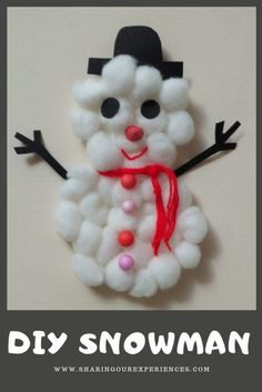 Make your own Snowman with cotton balls, Fun and Easy Christmas crafts and activities for toddlers that you can not miss Christmas Crafts For Kids To Make, Toddler Christmas, Christmas Snowman, Simple Christmas, Diy Christmas, Christmas Ornaments, Christmas Trees, Holiday Crafts, Craft Activities For Kids