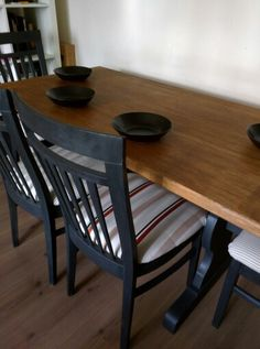 Refectory table and chairs in graphite chalk paint
