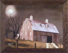 Midnight Moon by Billy Jacobs 22x28 Full Moon Owl Night Barn Fence Primitive Folk Art Wall Décor Framed Picture Home Cabin Décor http://www.amazon.com/dp/B00KQTXXD6/ref=cm_sw_r_pi_dp_0Zpdub1K82WRJ