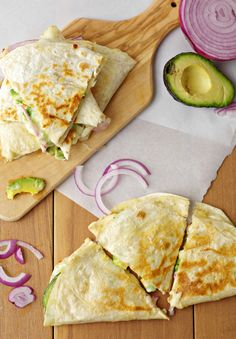 Hummus, Avocado and Cheese Quesadillas, by Coffee & Crayons