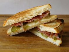 another random Grilled Cheese Social creation. muenster+speck+sweet/spicy pickles.