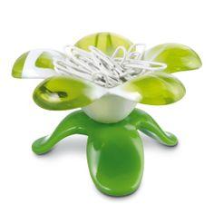 Koziol EMILY Paper Clip Holder - GREEN FLOWER