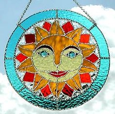 Handcrafted Stained Glass Sun Suncatcher - Handcrafted Sun Catcher  by StainedGlassDelight