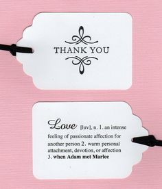 Custom Listing For Doulina - 70 Personalized Double Sided Thank You Wedding Tags / Wedding Favor Tags / Love Definition. $70.00, via Etsy.
