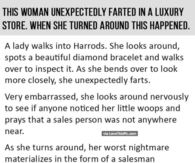 This Woman Unexpectedly Farted In A Luxury Store, When She Turned Around THIS Happened.