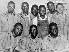 The Scottsboro Boys were nine Black teenage boys (the youngest was 13 and the oldest was accused of rape in Alabama in The landmark set of legal cases from this incident dealt with racism and the right to a fair trial. Black History Month, Black History Facts, Us History, African American History, American Women, American Horror, Scottsboro Boys, African Diaspora, My Black Is Beautiful