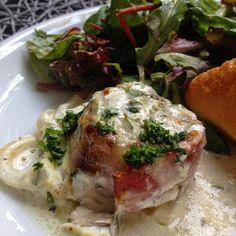 Greenway36: Schweinefilet mit Champignons, Zwiebeln und Bresso-Sauce aus dem Backofen