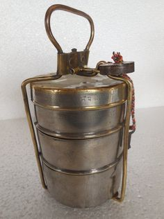 Old Brass Unique Solid 3 Compartment Handcrafted Tiffin/Lunch Box With Padlock   Antiques, Asian Antiques, India   eBay!