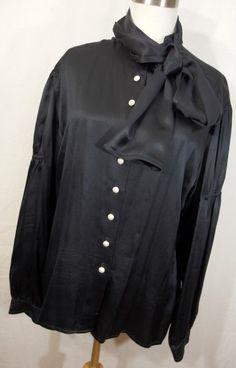 VTG Marc Kehnen L 12 14 black silk blouse shirt pearl gold button down front J4 #MarcKehnen #ButtonDownShirt #Career