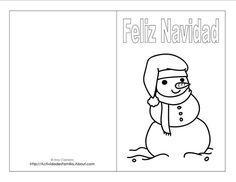 Tarjetas de navidad para imprimir: Tarjeta de hombre de nieve