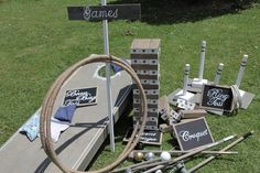 Lawn Game Set- includes; Giant Jenga, Ring Toss, Bean Bag Toss, Croquet, Hula Hoop and Game's sign. Save by ordering the set!