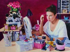"""""""Emily In Her Office"""" by Kelly Eddington, St. Joseph, IL // My sister Emily (a TV news anchor in southern Illinois) has turned her love of makeup into a side business thanks to her YouTube channel, Beauty Broadcast.  Poof--I call her Poof--reviews cosmetics in her 600+ videos.  She has more than 150,000 subscribers—they could populate... // Imagekind.com -- Buy stunning, museum-quality fine art prints, framed prints, and canvas prints directly from independent working artists and…"""