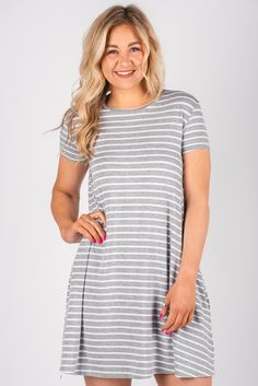 e13efd3971c58 Piko short sleeve swing dress grey/white thick stripe