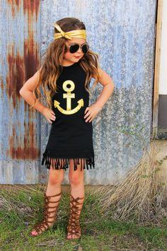 Black Gold Anchor Fringe Dress