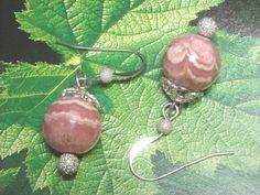 Pink Rhodochrosite Sterling Silver Earrings Handmade OOAK - Blushing Bride - Dangle Earrings Wedding Jewelry Fashion Pink Stone Earrings by UnikButikJewelry on Etsy