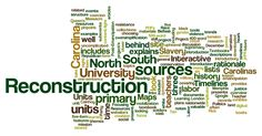 Textbooks vastly simplify Reconstruction. Click the word cloud for more info on a website that uses primary sources from North and South Carolina to explore the pain, hope, tension, and violence of this time period.