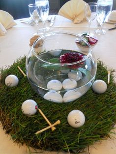 golf balls tees centerpiece Wedding At Rush Creek Golf Course, Maple Grove, Minnesota Golf Table Decorations, Sports Centerpieces, Wedding Reception Centerpieces, Table Centerpieces, Centerpiece Ideas, Baseball Centerpiece, Reception Decorations, Event Decor, Thema Golf