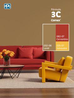 Dale vida a tu espacio mediante el color con tan sólo 3 pasos <3  #Combina colores y transforma tu espacio. #Fórmula3C Wall Painting Decor, House Painting, Interior Color Schemes, Colour Schemes, Web Colors, Beauty Salon Decor, Home Office Decor, Home Decor, Room Paint