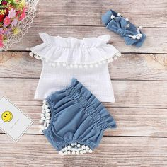 Baby Girl's Collar Top+Denim Shorts and Headband – CuteThee Best Picture For baby girl dresses white Newborn Girl Outfits, Cute Baby Girl Outfits, Kids Outfits Girls, Cute Outfits For Kids, Baby Girl Dresses, Baby Dress, Baby Girl Fashion, Kids Fashion, Baby Girl Dress Patterns